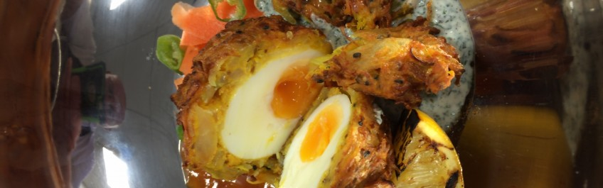 Onion bhaji scotch egg for national picnic week